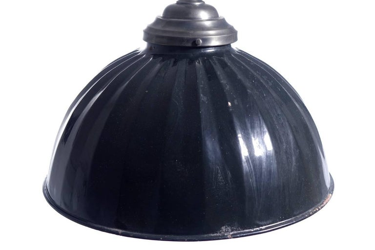 Industrial Large Black Pleated Dome Pendent For Sale