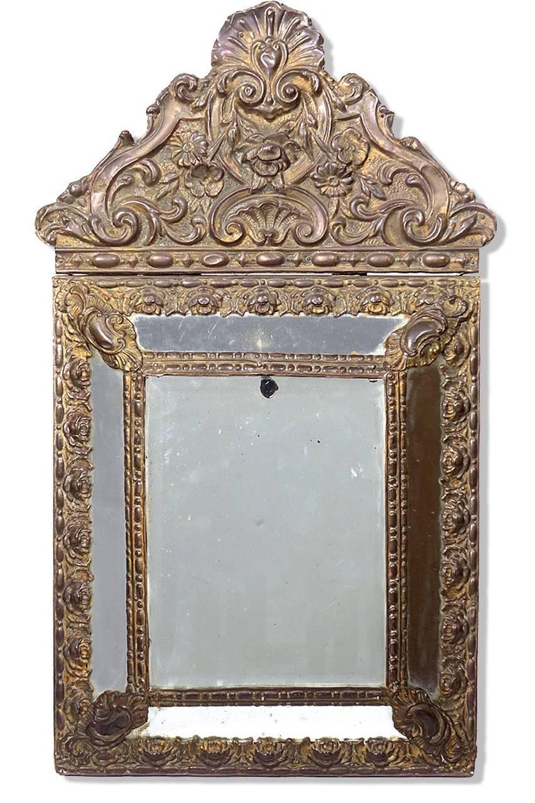 Antique 1880s Decorative French Mirrors, Matching Pair In Excellent Condition For Sale In Peekskill, NY
