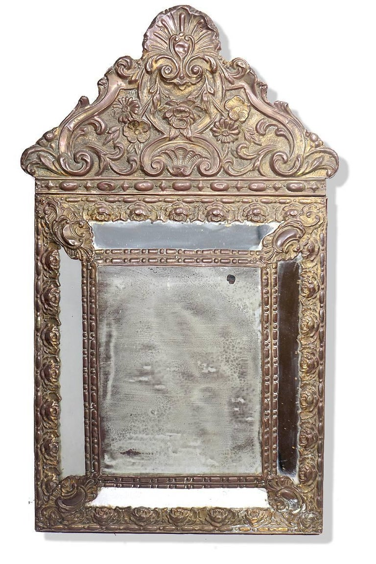 19th Century Antique 1880s Decorative French Mirrors, Matching Pair For Sale