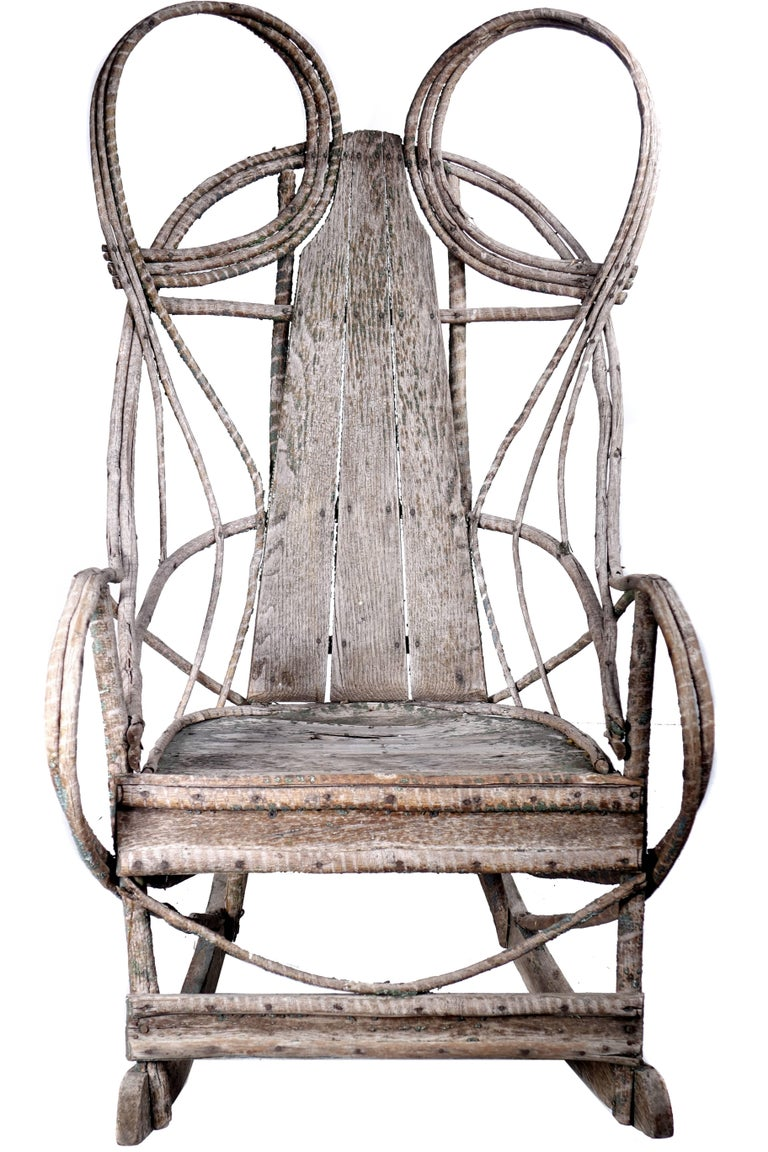 1910 Rustic Adirondack Bentwood and Board Rocker 2
