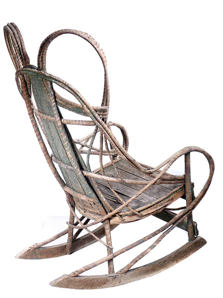 1910 Rustic Adirondack Bentwood and Board Rocker 3