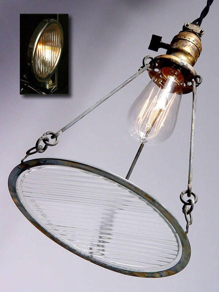 1915 Automobile Headlight Lens Pendent In Excellent Condition For Sale In Peekskill, NY