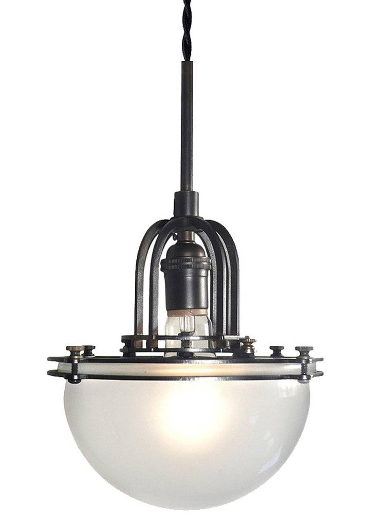 Bauhaus Machine Age Frosted Dome Pendent For Sale