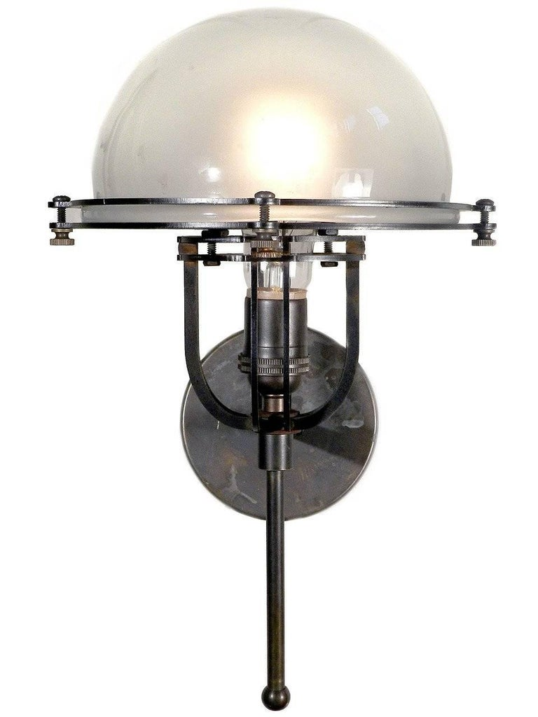 Bauhaus Machine Age Frosted Dome Sconce For Sale