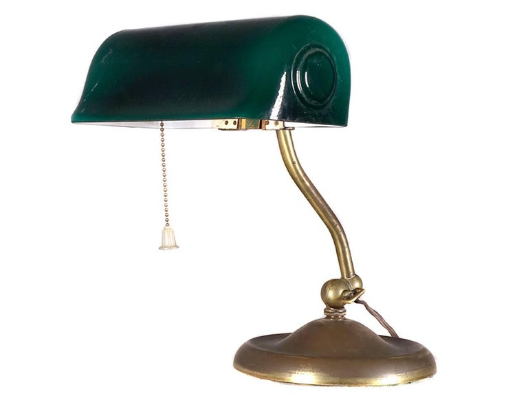 Signed by famous maker, Verdelite, Pat. May 8, 1917, this marvellous banker's desk lamp or piano lamp has an original emerald green blown glass shade. The name is from the verdelite tourmaline gemstone, the maker is Faries. This example is all