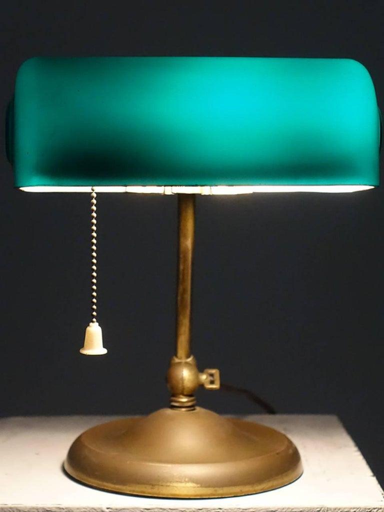 Industrial 1917 Verdelite Bankers Desk Lamp For Sale