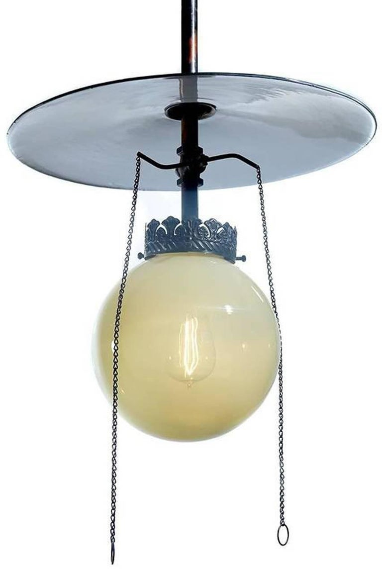 Industrial Vaseline Glass Gas Lamp For Sale