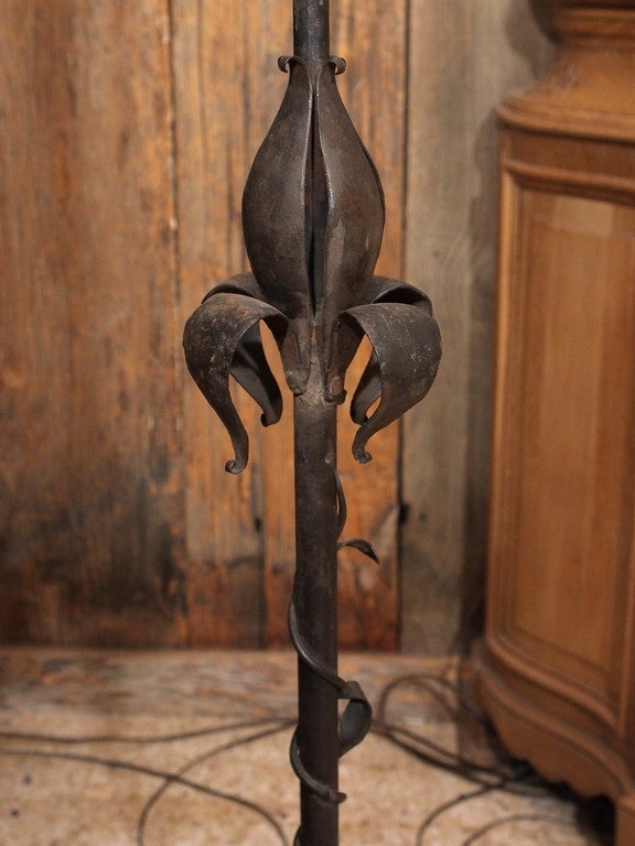 Pair Of Antique Wrought Iron Torchieres Circa 1915 For