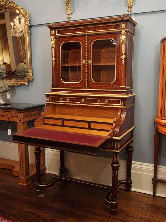 French Antique Napoleon III Desk and Bookcase, circa 1860-1870 For Sale