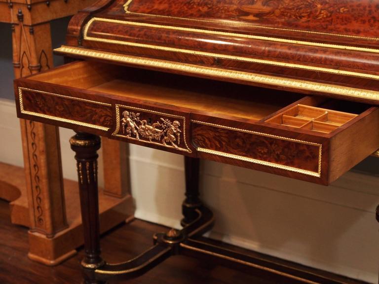 19th Century Antique Napoleon III Desk and Bookcase, circa 1860-1870 For Sale