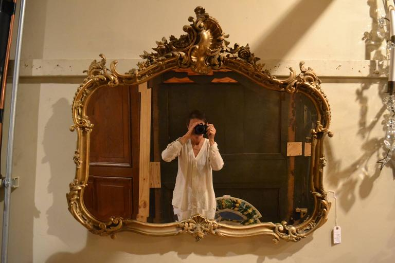 Antique French Gold Leaf Beveled Mirror Circa 1855 1865