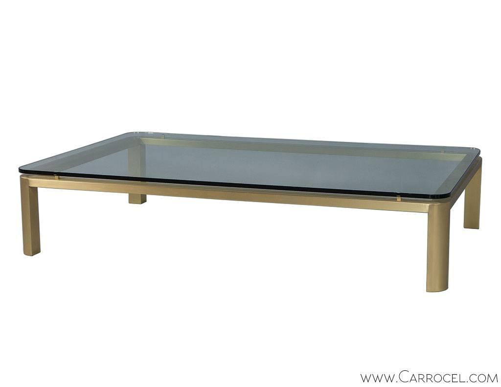 Large brass and glass coffee table at 1stdibs for Large glass coffee table