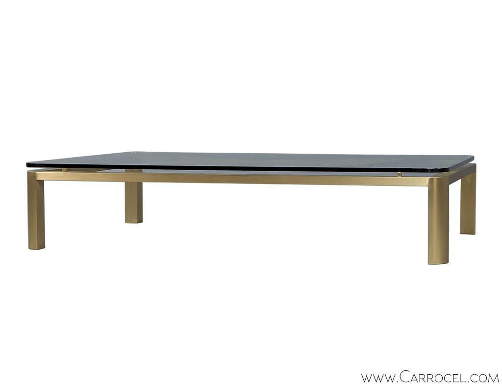 Large brass and glass coffee table at 1stdibs for Big glass coffee table