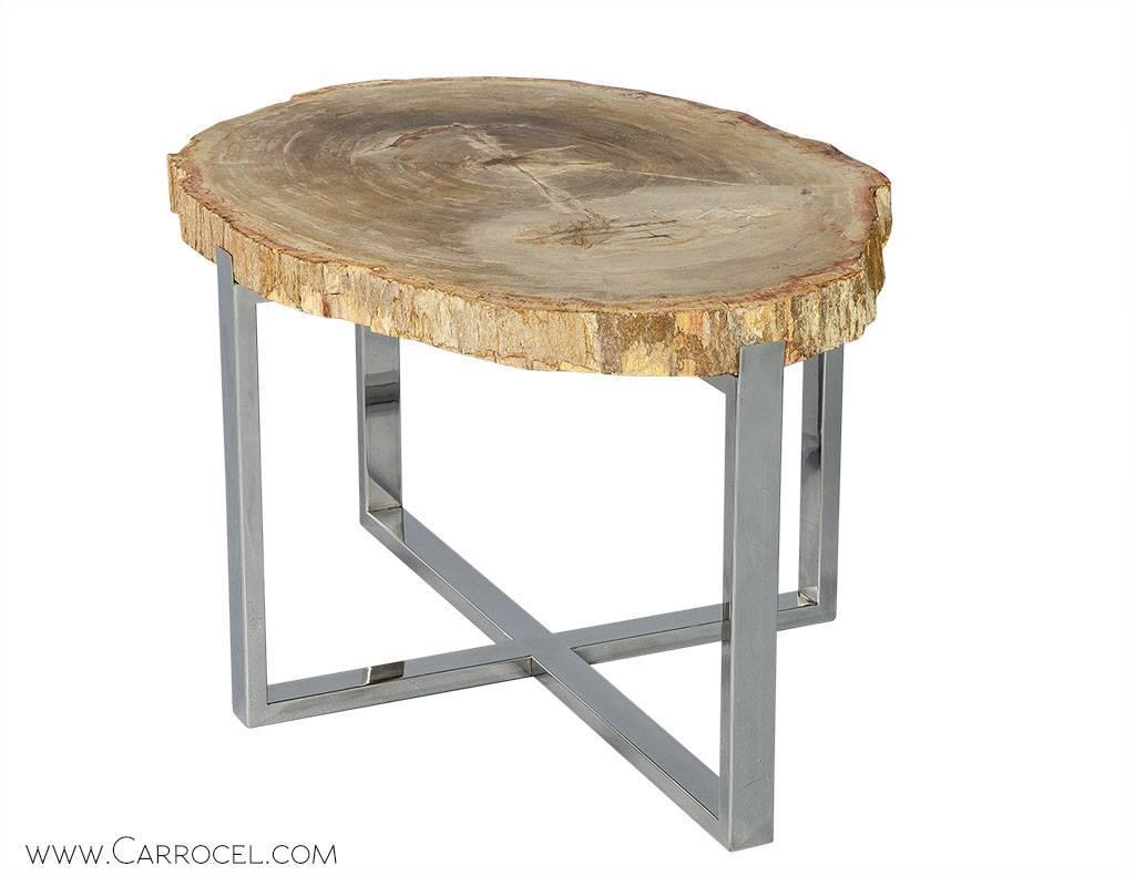 Petrified wood accent table at stdibs