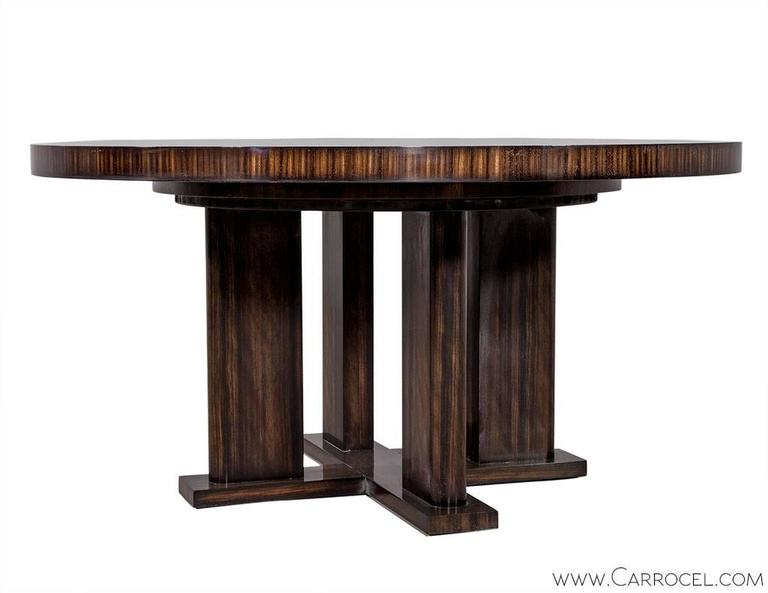 Custom Modern Round Macassar Dining Table For Sale at 1stdibs