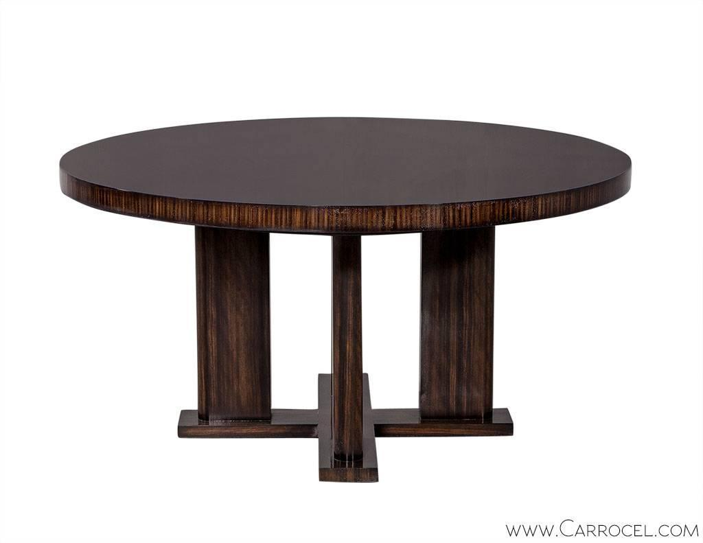 Custom modern round macassar dining table for sale at 1stdibs for Unique kitchen tables for sale