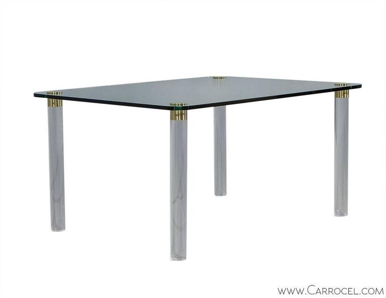 Pace Collection Glass Top Dining Table on Brass Capped  : DS4986001l from www.1stdibs.com size 768 x 593 jpeg 13kB