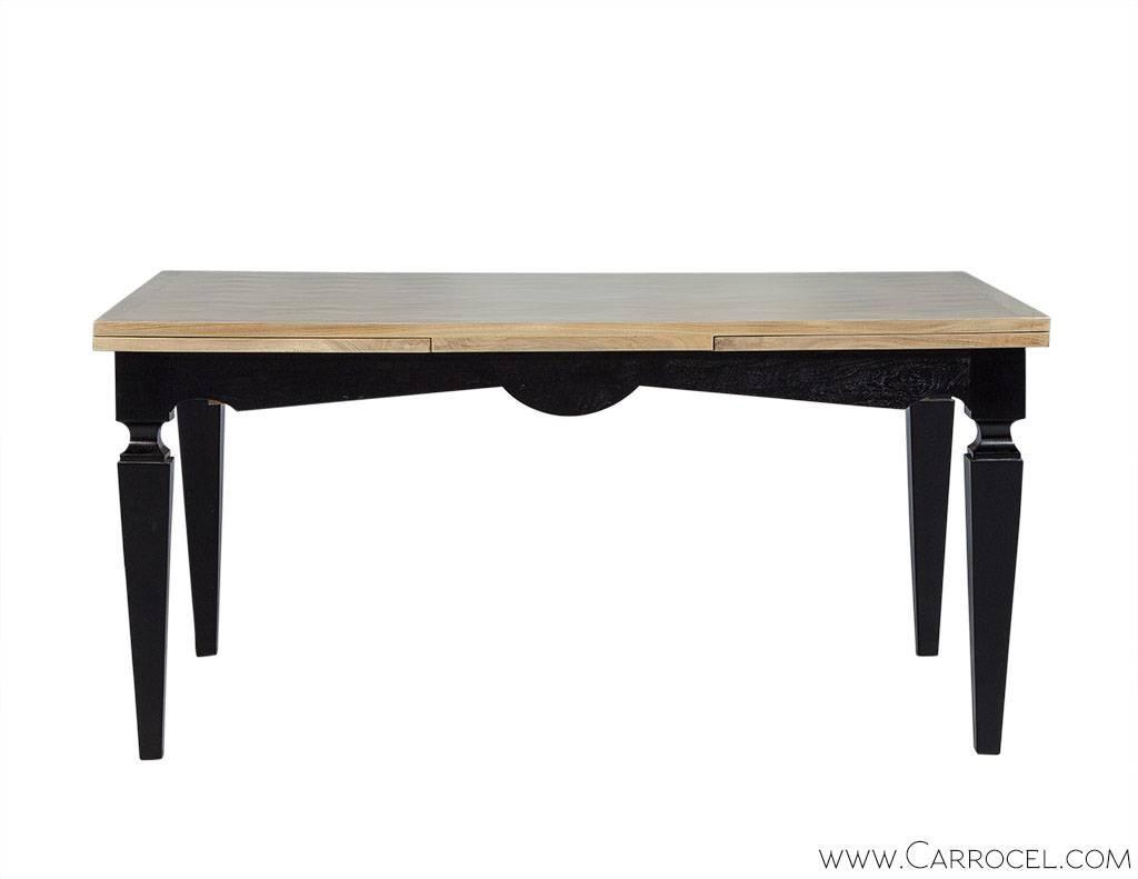 Parquetry Top Dining Table With Self Storing Extensions For Sale At 1stdibs
