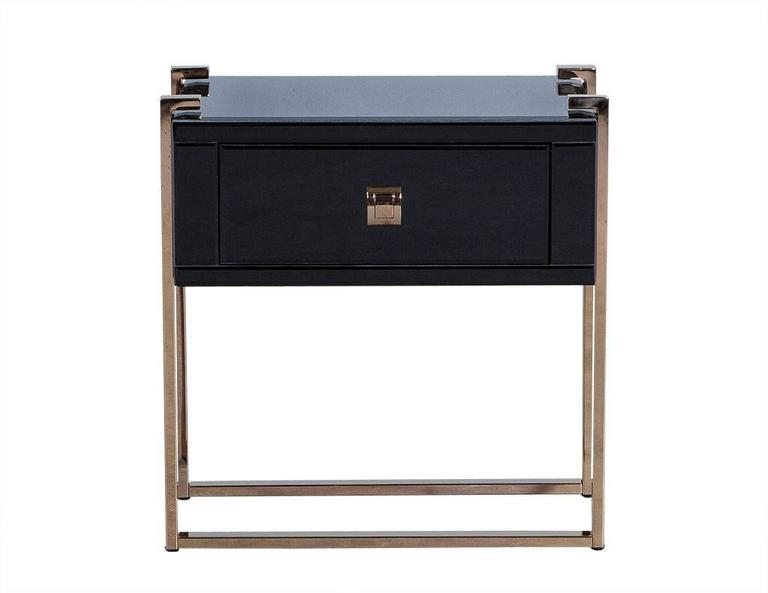 Black Glass Nightstand On Copper Legs At 1stdibs