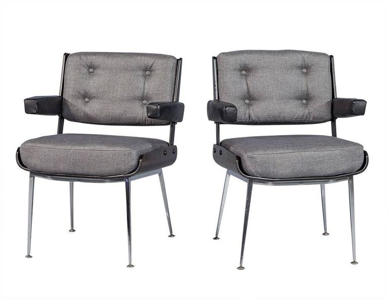 Incredible Set Of Three Mid Century Office Chair Set By Alain Richard Pabps2019 Chair Design Images Pabps2019Com