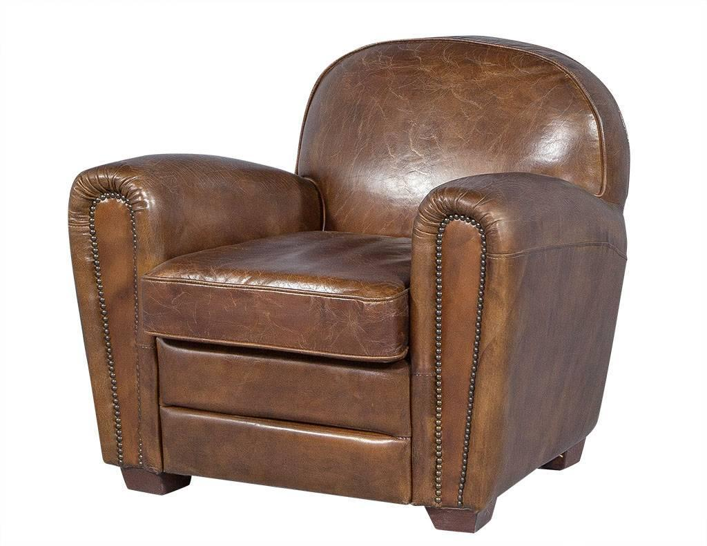 Pair of distressed brown leather art deco club chairs at 1stdibs
