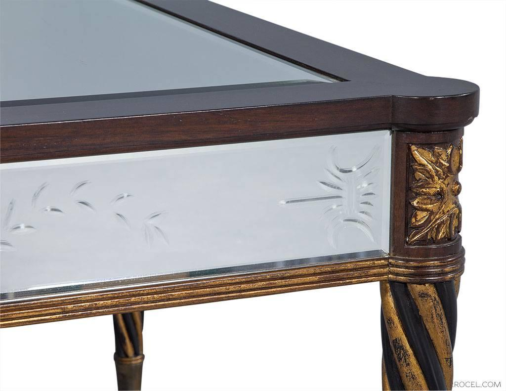 Giltwood and Mahogany Mirrored Cocktail Table by EJ Victor