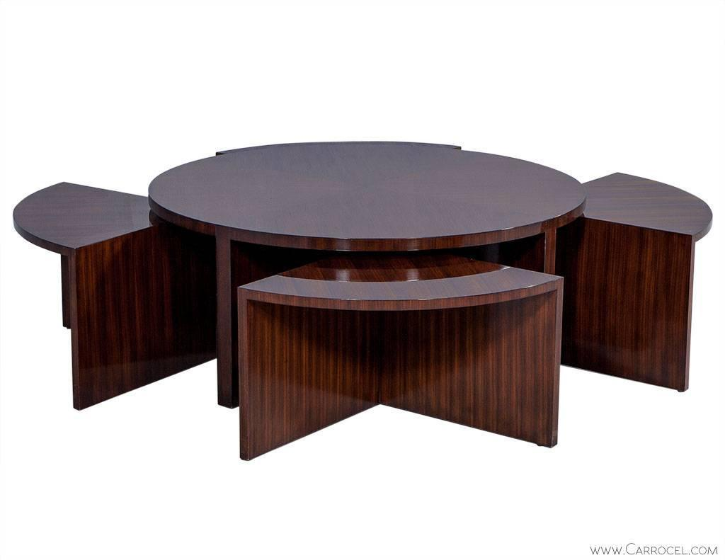 Contemporary Nesting Tables ~ Duke modern mahogany cocktail table with nesting tables at