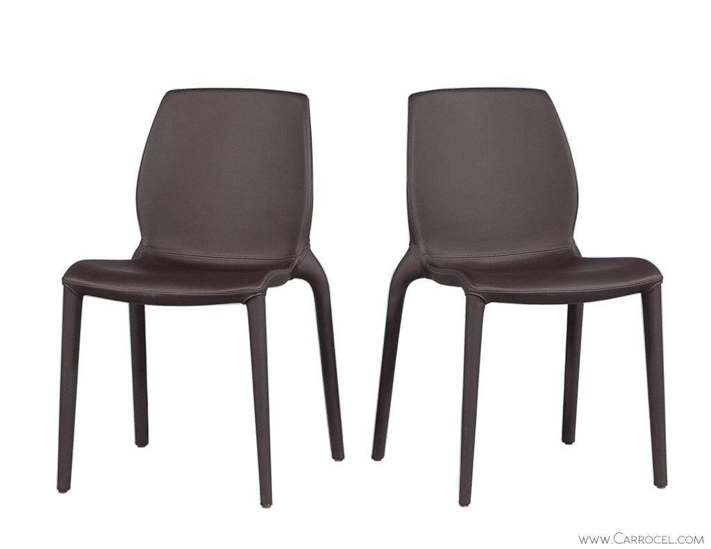 Set of four modern chocolate leather italian dining chairs for Italian dining chairs modern