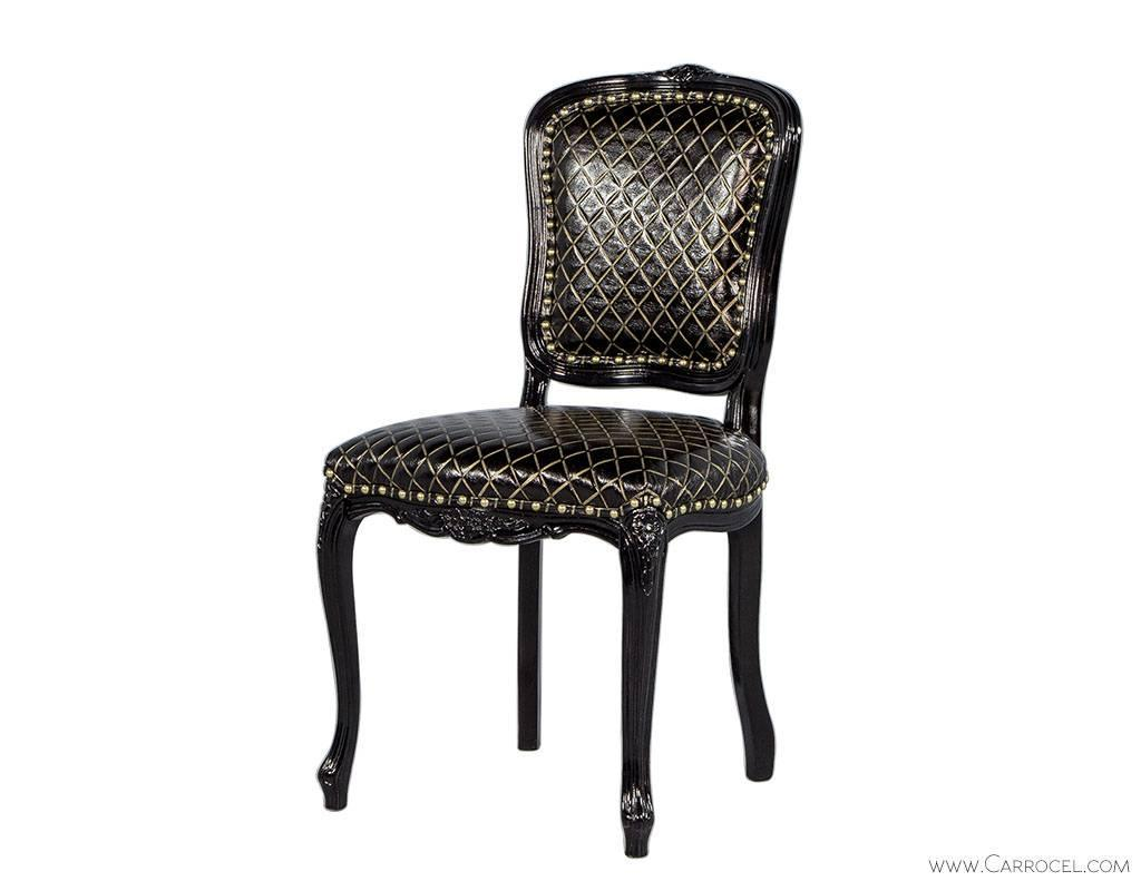 pair of monark accent chairs in embossed black with gold leather for sale at 1stdibs. Black Bedroom Furniture Sets. Home Design Ideas