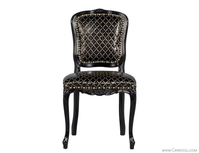 Monark Accent Chair In Embossed Black With Gold Leather