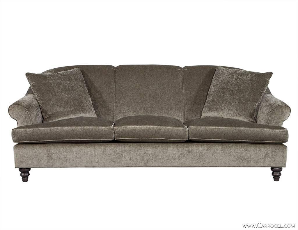 Custom Rolled Back Sofa In Grey Chenille For Sale At 1stdibs: chenille sofa and loveseat
