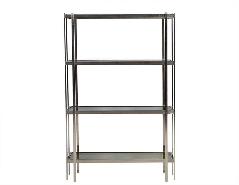 Mid-Century Modern Brushed Nickel Étagère with Smoked Glass Shelves ...