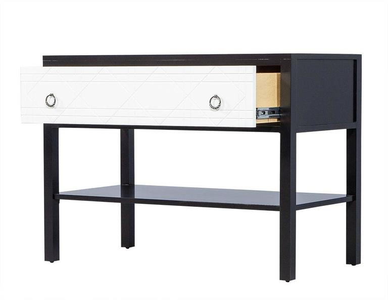 Contemporary Pair of Geometric Façade Nightstands For Sale