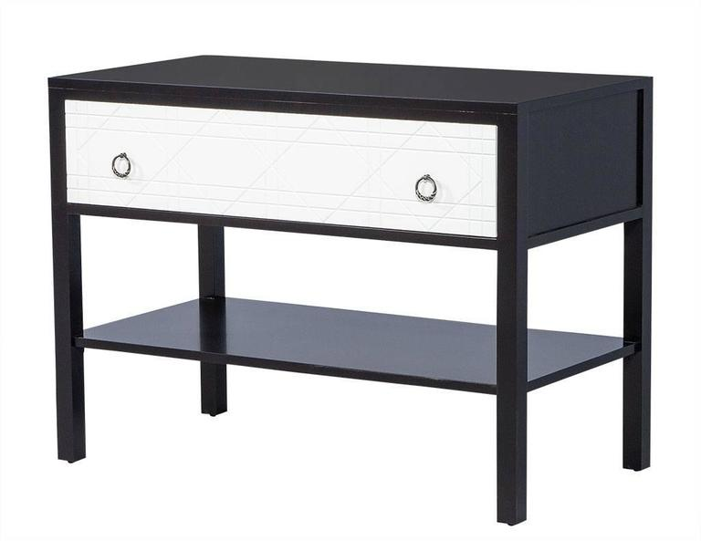 Pair of Geometric Façade Nightstands In Excellent Condition For Sale In North York, ON