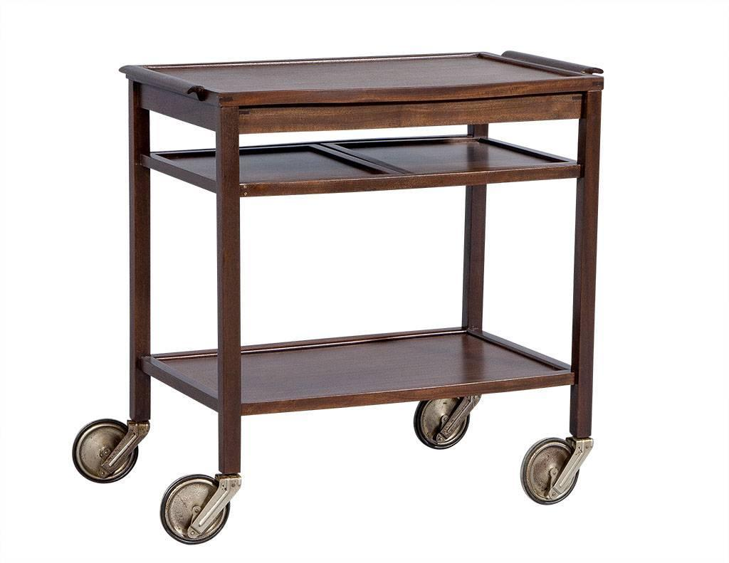 Danish Mid Century Modern Teak Bar Cart At 1stdibs