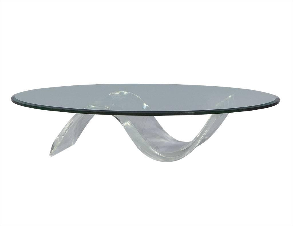 Oval mid century modern glass lucite cocktail table at 1stdibs for Contemporary oval coffee tables