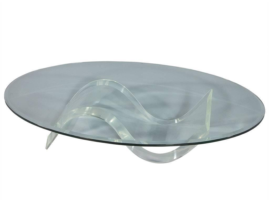Oval mid century modern glass lucite cocktail table at 1stdibs for Oval glass coffee table