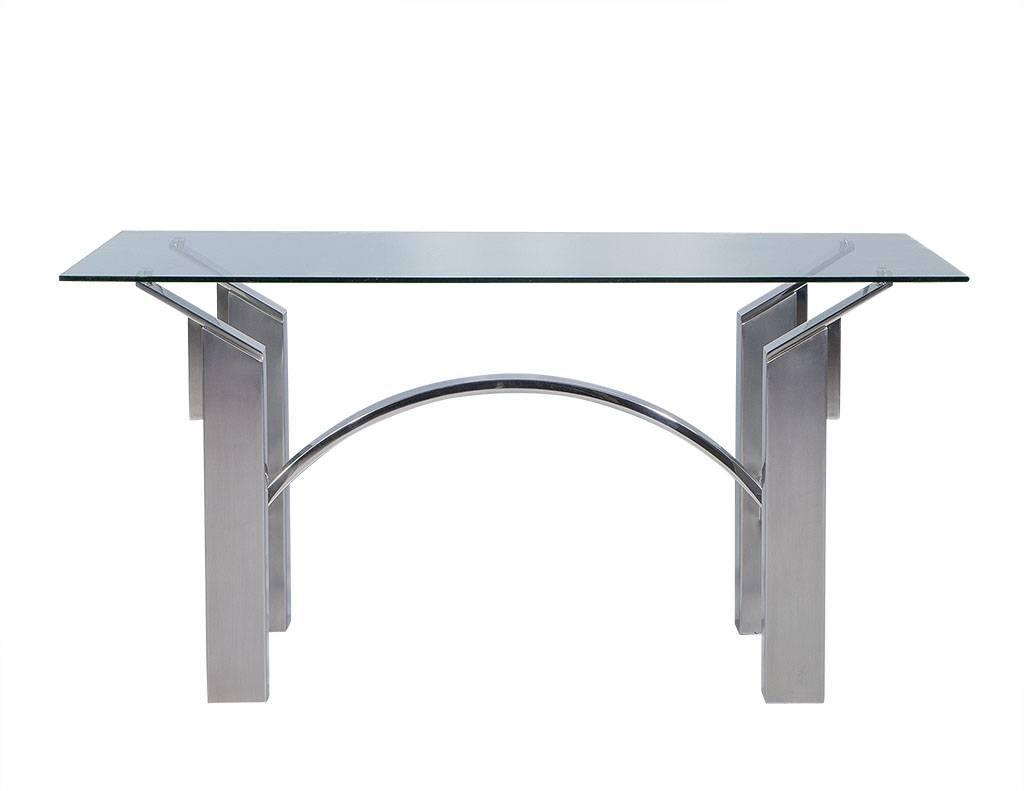 Modern Polished Nickel and Brushed Steel Table or Desk For  : DS4992001z from www.1stdibs.com size 1024 x 791 jpeg 21kB