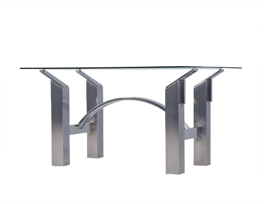 Modern Polished Nickel and Brushed Steel Table or Desk For  : DS4992004z from www.1stdibs.com size 1024 x 791 jpeg 22kB