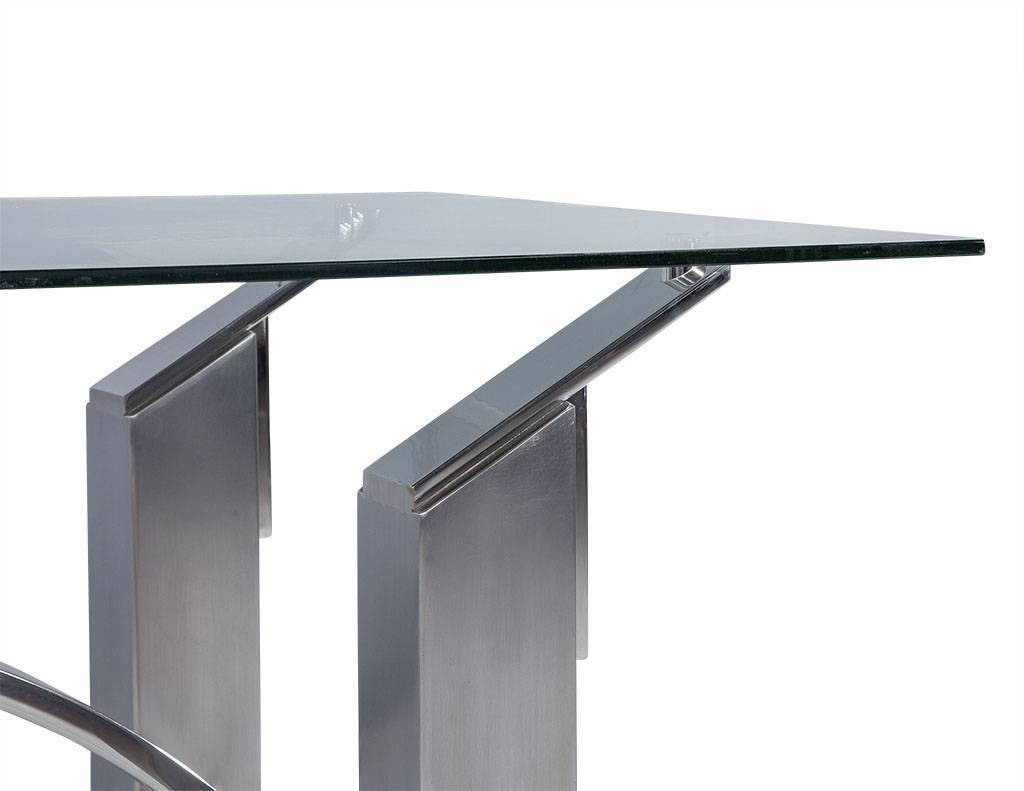 Modern Polished Nickel and Brushed Steel Table or Desk For  : DS4992006z from www.1stdibs.com size 1024 x 791 jpeg 28kB