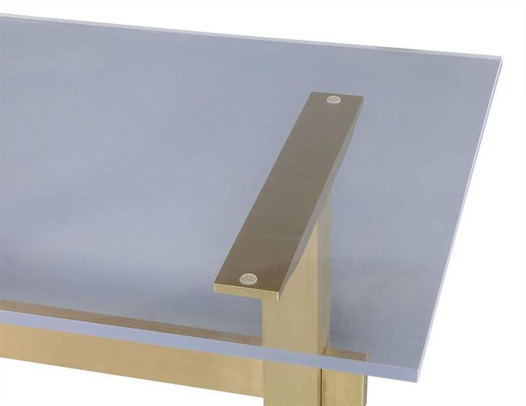 Dining Table With Acrylic Top On Brass Base 3