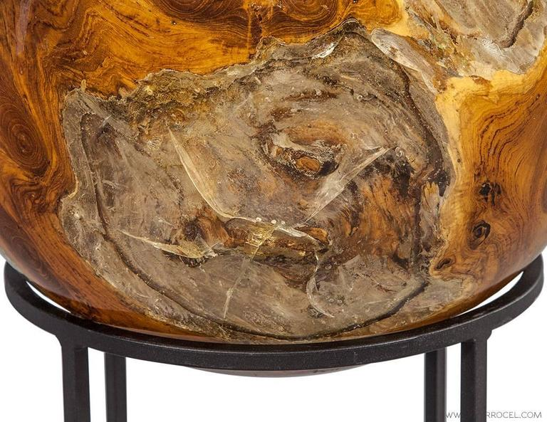 Cast Wood Art : Beyond wood sphere sculpture on cast iron stand at stdibs