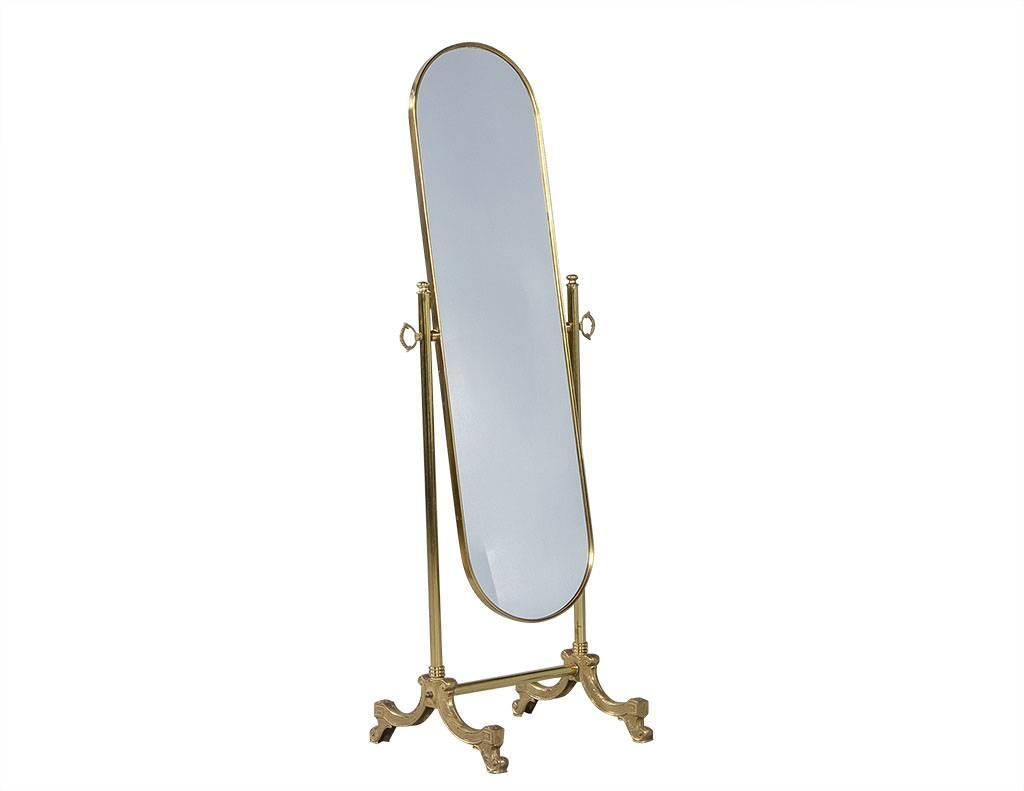 French oval cheval mirror with brass stand for sale at 1stdibs for Floor length mirror for sale