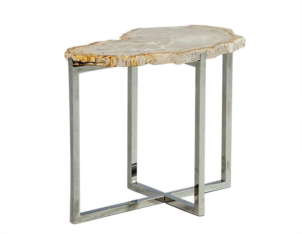 Petrified wood accent table for sale at stdibs