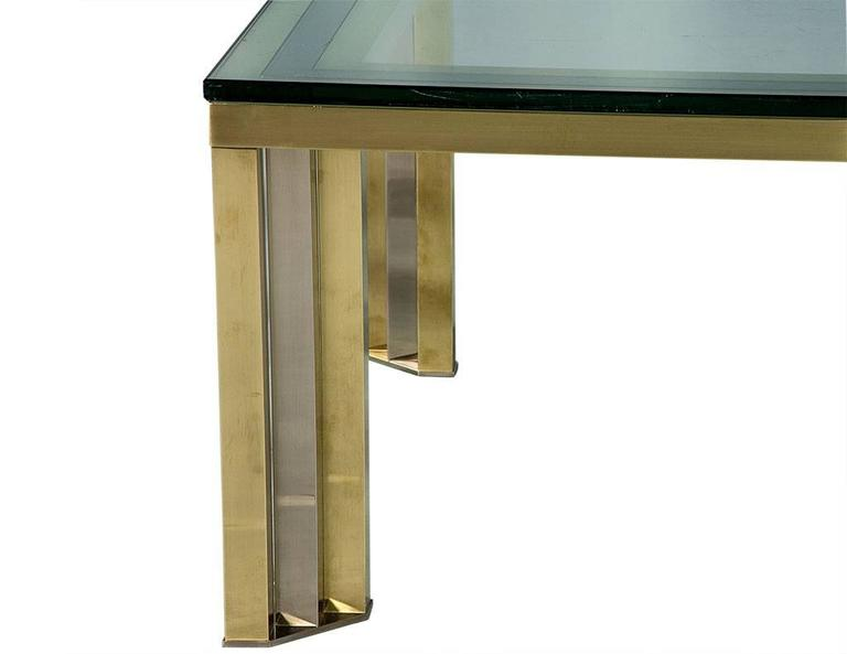 Late 20th Century 1970s Polished Chrome and Brass Cocktail Table For Sale