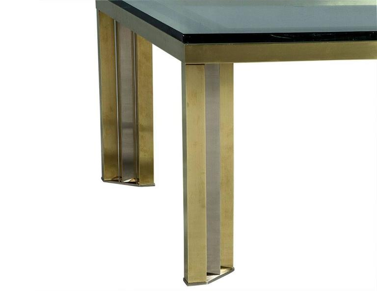 1970s Polished Chrome and Brass Cocktail Table For Sale 2