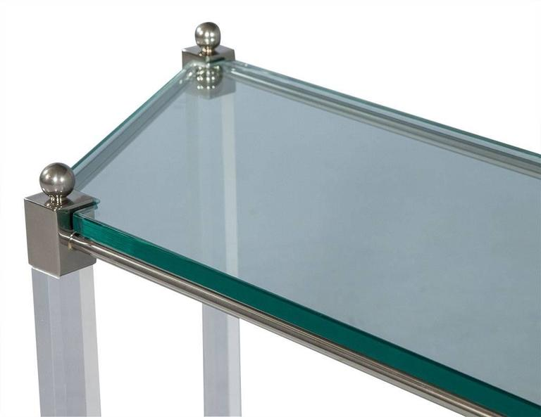 Angular French Lucite and Glass Console 3