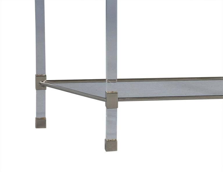 Late 20th Century Angular French Lucite and Glass Console For Sale
