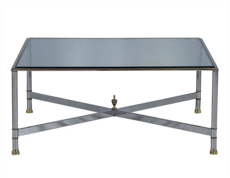Maison Jansen Style Chrome and Glass Square Cocktail Table
