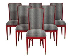 Set of Six Restored Red Deco Lacquered Dining Chairs